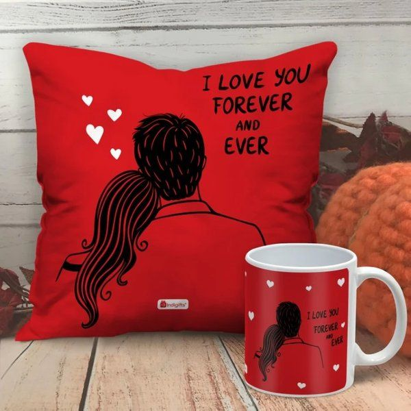 Indigifts I Love You Forever And Ever Valentine's Day Fabric Cushion And Mug Valentines Day Mugs