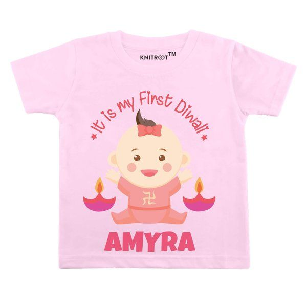 Knitroot It Is My First Diwali Baby Wear T-Shirts Birthday Gifts For 4 Year Girl
