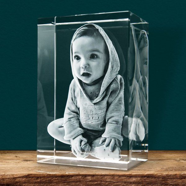 Kiddos Rectangle Personalized 3D Engraved Crystal