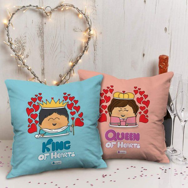 Indigifts King And Queen Theme Cushion Pair with Filler Valentines Day Gifts For Girls