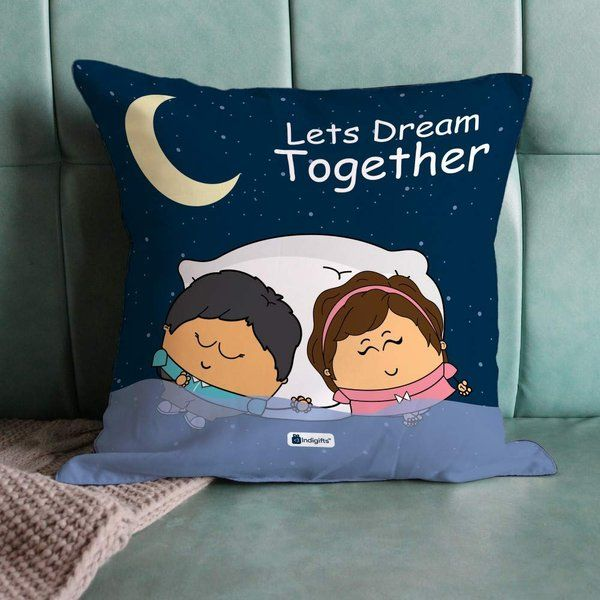 Indigifts Let's Dream Together Dark Blue Couple Cushion Cover with Filler Small Gifts For Girlfriend