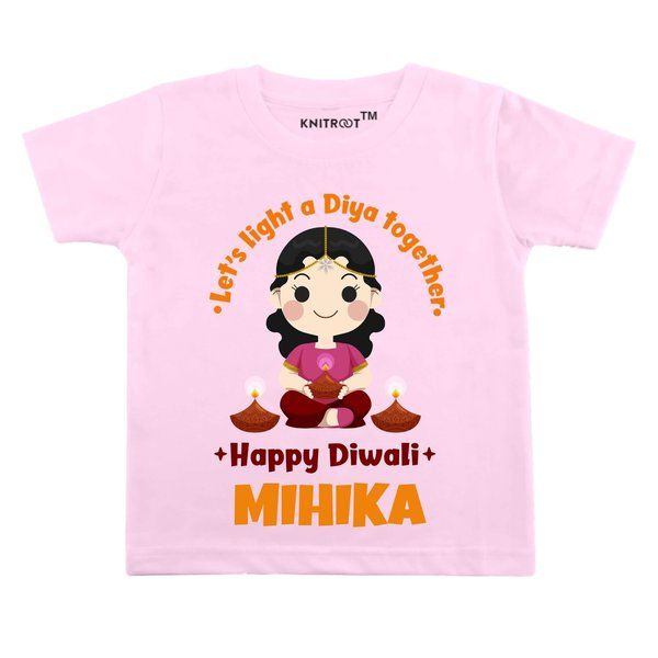 Knitroot Let's Light a Diya Together Baby Girl Wear T-Shirt Gifts For 6 Years Old Girl