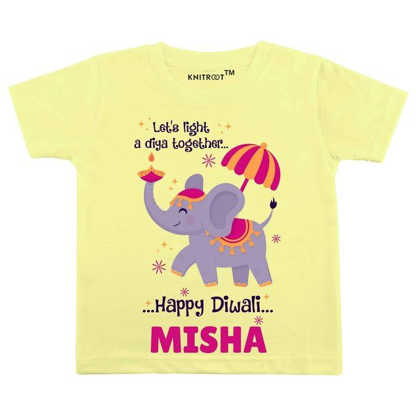 Knitroot Let's Light a Diya Together Happy Diwali Baby Wear T-Shirts Birthday Gifts For 4 Year Girl