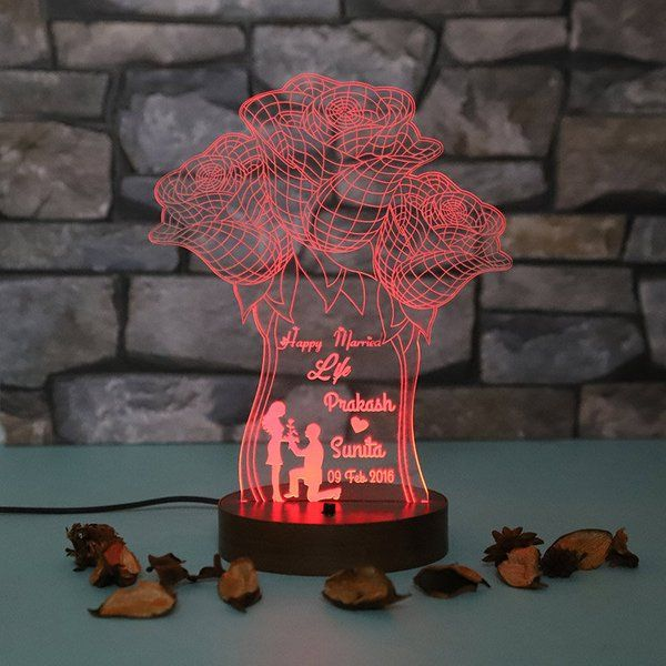 FlowerAura Light Of Life Customised Lamp Personalized Valentines Gifts