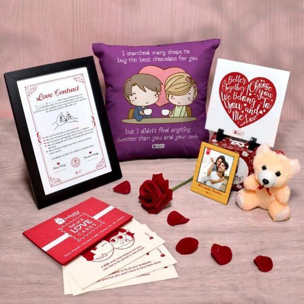 Indigifts Love Couple Husband & Wife Valentines Special Combo Surprise Anniversary Gifts For Husband
