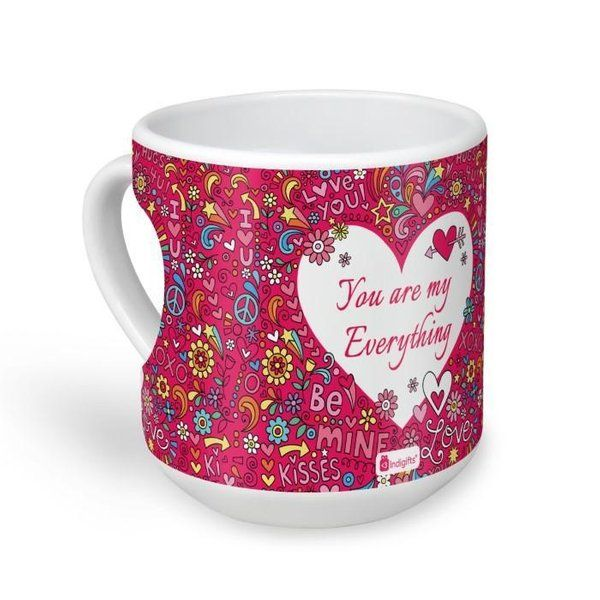 Indigifts Love Doodle With Flowers Pink Heart Shape Coffee Mug 25th Birthday Gift For Girlfriend