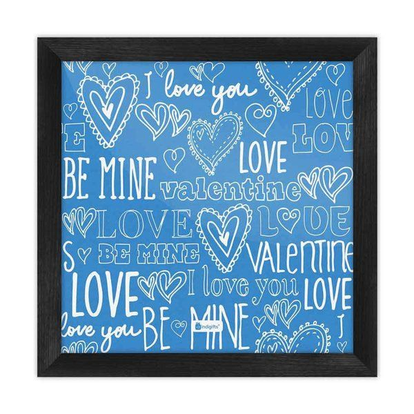 Indigifts Love Expression Seamless Pattern Blue Poster Frame Special Gift For Boyfriend On His Birthday