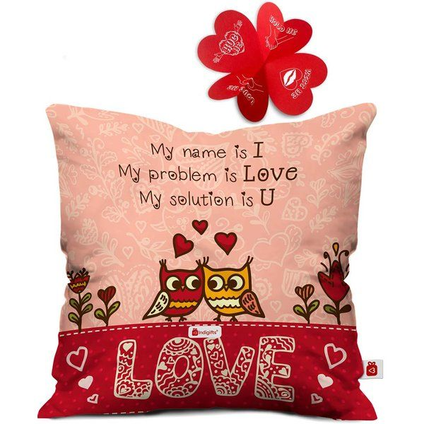 Indigifts Love Quote Pink Cushion Cover with Filler For Valentine Day  Best Anniversary Gifts For Girlfriend