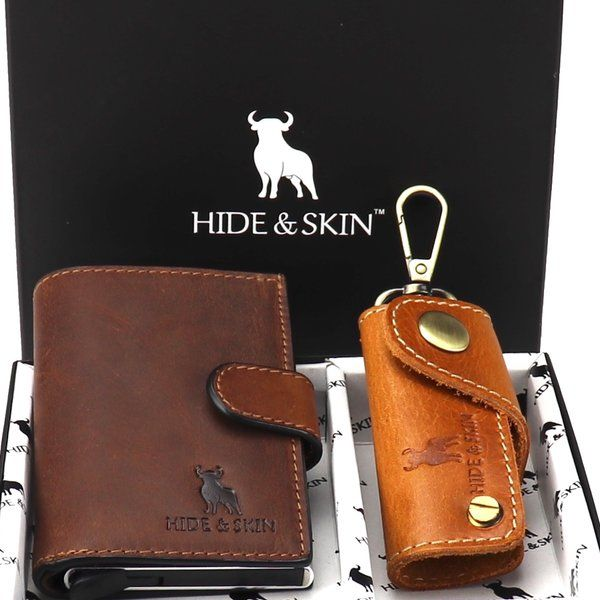 Hide & Skin Magma Brown Leather Card Holder and Magma Brown Leather Keychain Combo Special Gift For Boyfriend On His Birthday