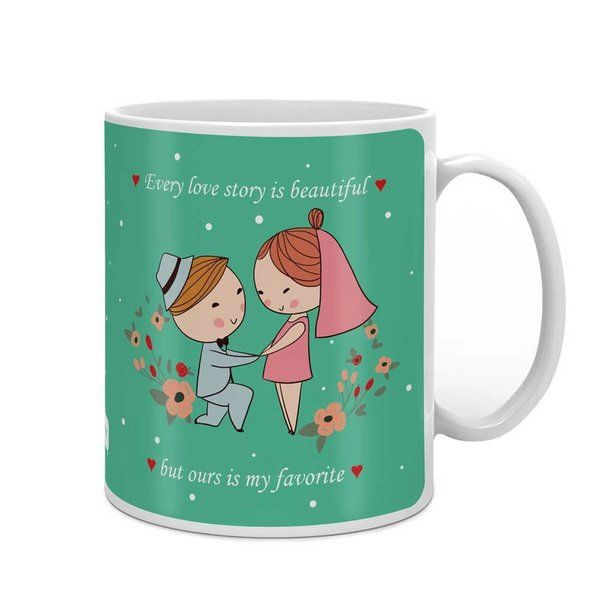 Indigifts Man Proposing To A Woman Green Coffee Mug Small Gifts For Girlfriend