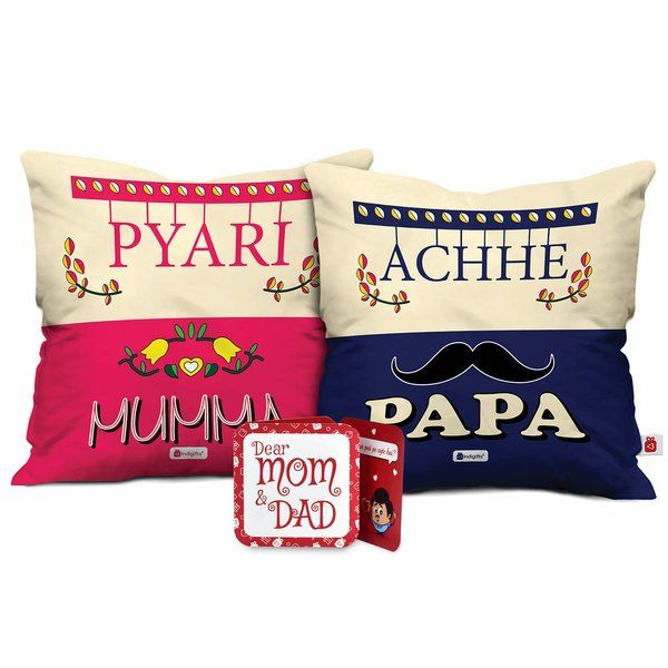 Indigifts Mom and Dad Soft Poly Satin Cushion with Filler Anniversary Gift For Mom And Dad