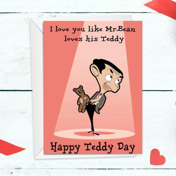 Privy Express Mr Bean Theme Quirky Teddy Day Funny Greeting Card Personalized Valentines Gifts For Him