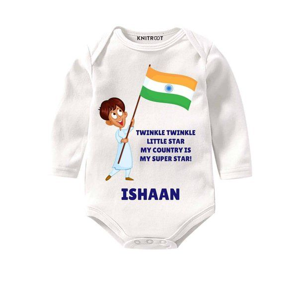 Knitroot My Country is My Superstar Baby Wear Onesie Birthday Gift For 1 Year Old Boy