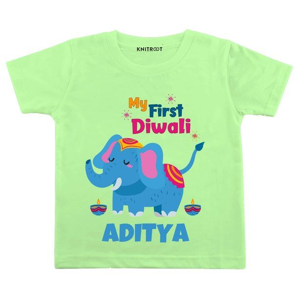 Knitroot My First Diwali Elephant Theme Baby Wear T-Shirts Gifts For 7 Year Old Boys