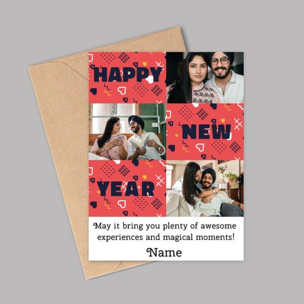 Privy Express Name Personalised Photo Collage New Year Wishes for Girlfriend or Wife New Year Gift For Wife