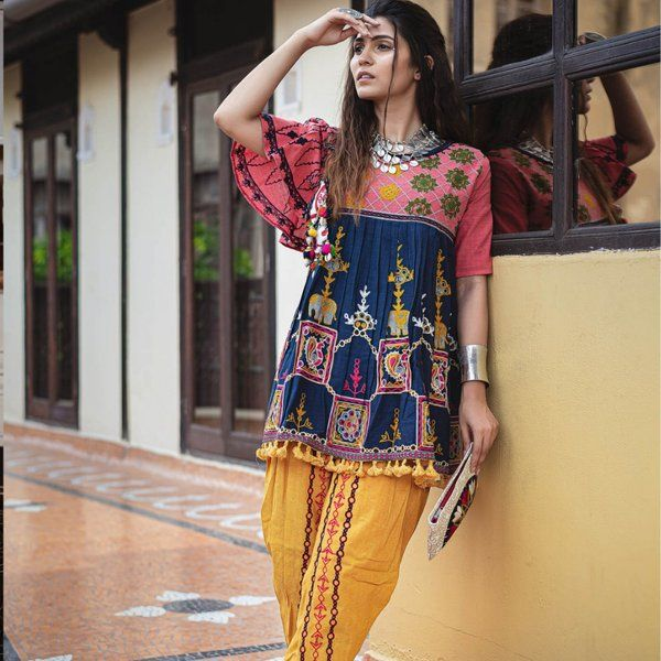 Navratri Collection Navy Blue Khadi Embroidered Kedia With One Side Sleeve And Tulip Pants Set Lohri Dress