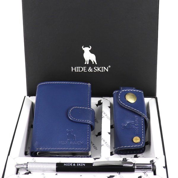 Hide & Skin Navy Blue Leather Card Holder, Navy Blue Leather Keychain and Multi Functional Pen Combo Simple Birthday Gifts For  husband