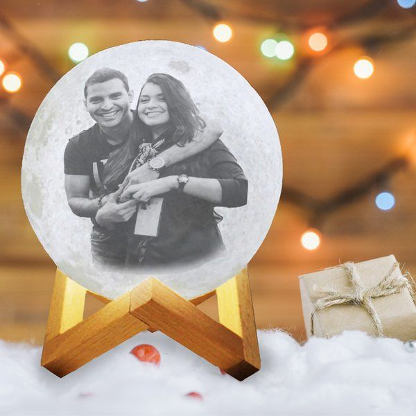 Soch3D New Year 2021 Couples Love 3D Multicolor Moon Lamp with Photo and Personalised Text - Touch Control Personalized Birthday Gifts For Boyfriend