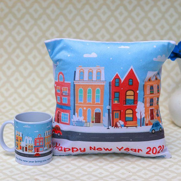 FlowerAura New year mug and pillow combo Small Gifts For Boys