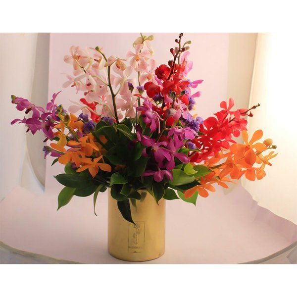 FlowerBox Orchids Arrangement In A Metal Vase 70th Birthday Gift For Dad