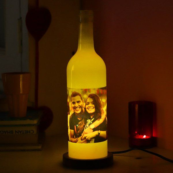 FlowerAura Personalised Bottle Lamp  Unique Birthday Gifts For Girlfriend