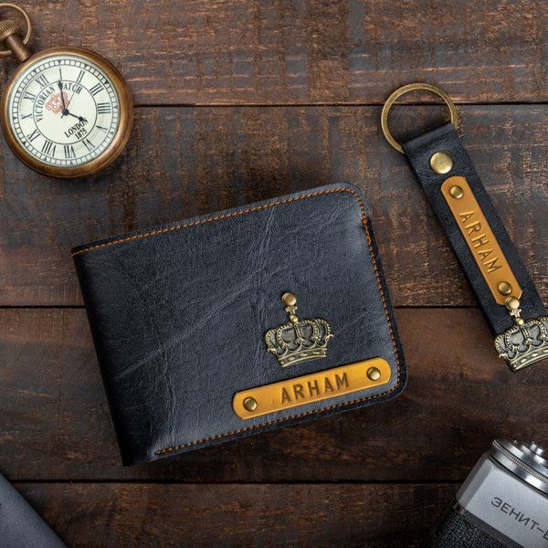 Privy Express Personalised Mens Wallet & Keychain Combo with Charm 60th Birthday Gifts For Dad
