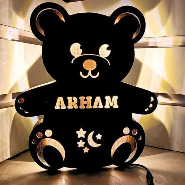 Waah Craft Personalized Teddy Name Board With Lights Birthday Gift For  Baby Girl