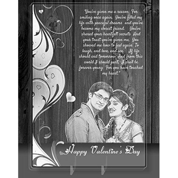 Incredible Gifts Personalized Valentine's Day Gift - Photo on Transparent Glass Valentines Day Photo Frame
