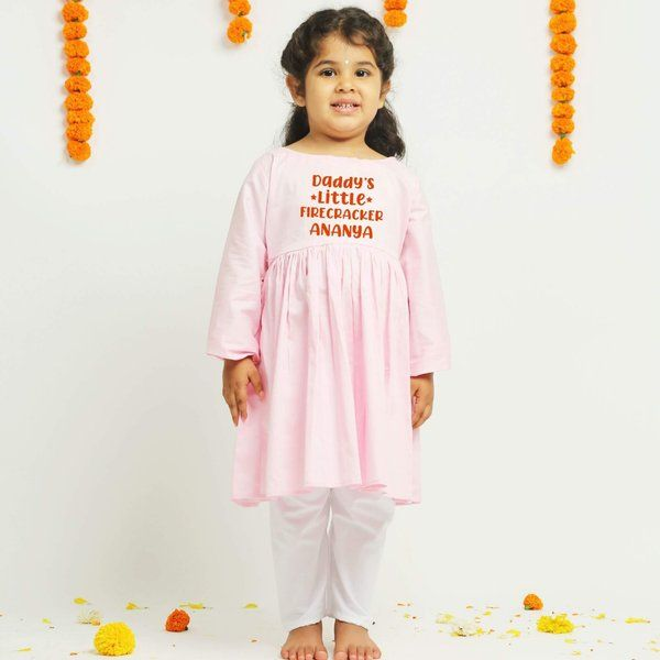 Knitroot Pink Diwali Kurta & Pant for Girls  Birthday Gift For  Baby Girl