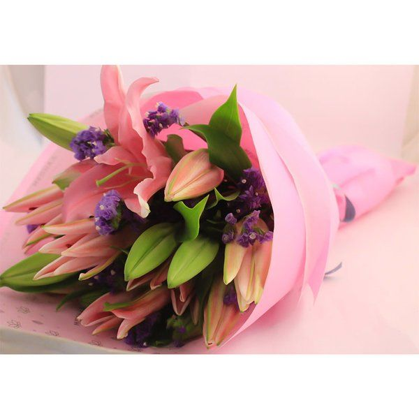 FlowerBox Pink Oriental Lilies Hand Bouquet Flowers For Baby Shower