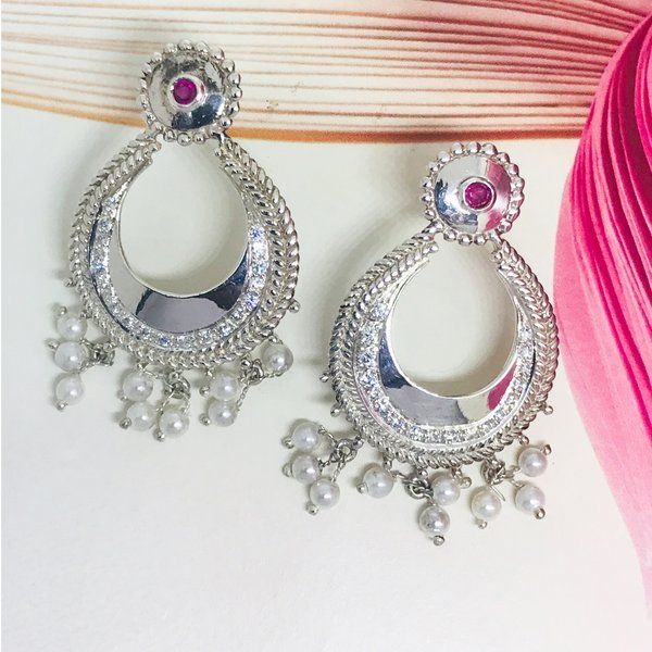 Divija Pink Stone Studded Handcrafted Traditional Pure Sterling Silver Earring Valentines Day Jewelry