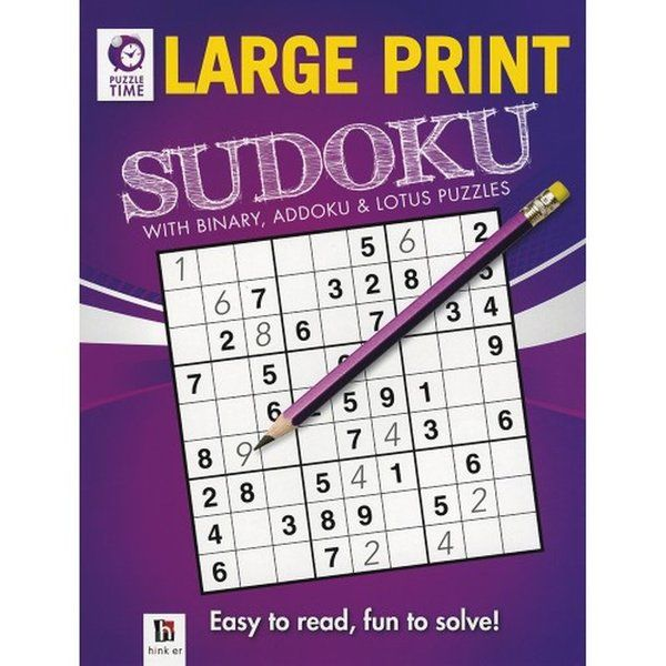 BookyWooky Puzzle Time Large Print Sudoku Purple Birthday Gift For 10 Year Old Boy