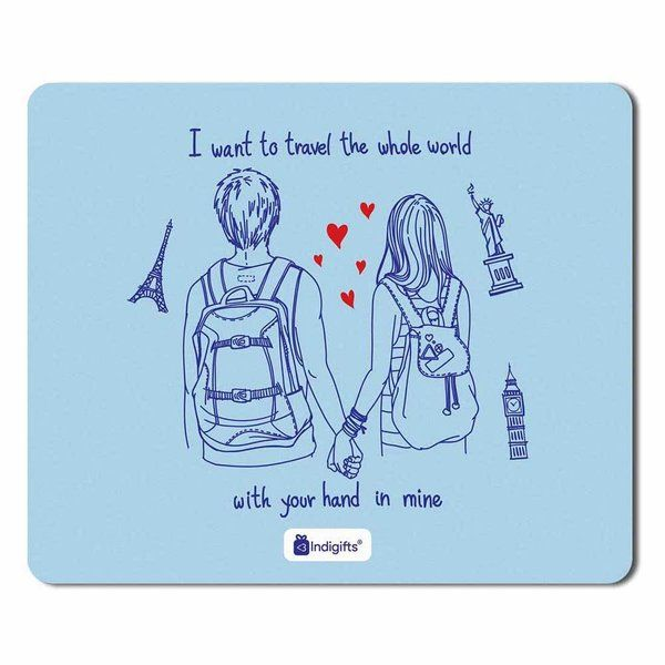Indigifts Romantic Young Couple Blue Mouse Pad Cheap Gifts For Boys