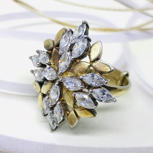 Divija Shiny Stone Studded Gold Textured Angoothi Handcrafted Traditional Pure Sterling Silver Ring Ring Gift For Wife