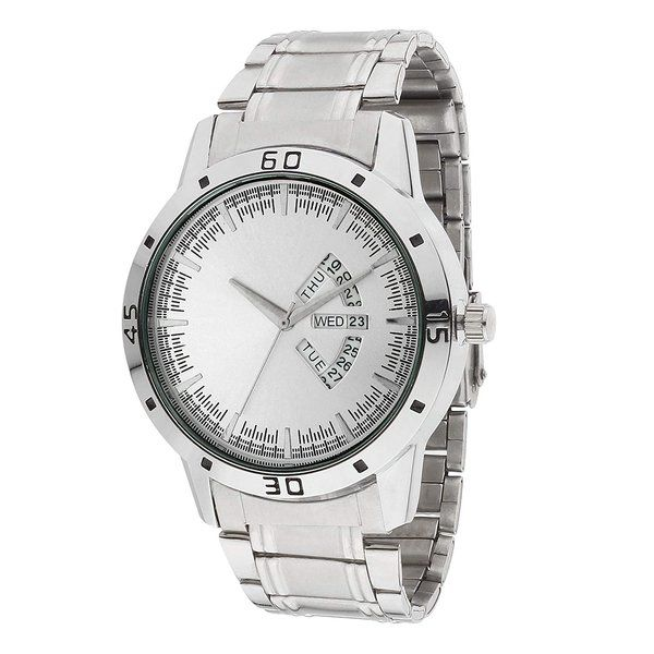 zestaindia Silver Stainless Steel Analogue Watch with Day and Date Feature for Men Useful Gifts For Friends