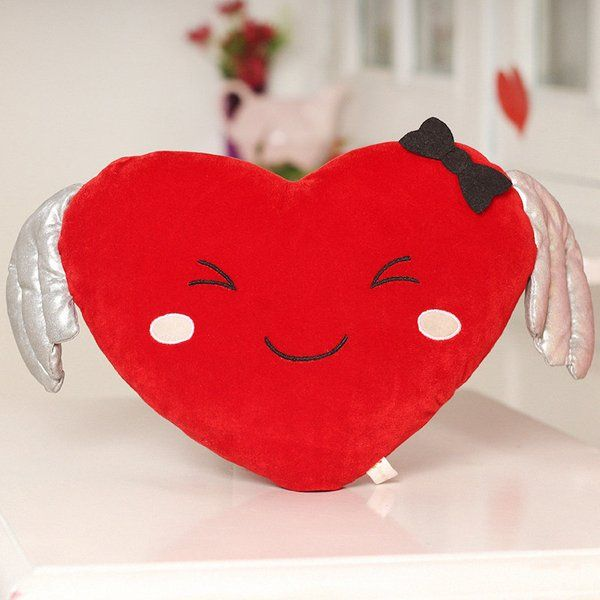 FlowerAura Smiling Heart Cushion Kiss Day Gift For Boyfriend