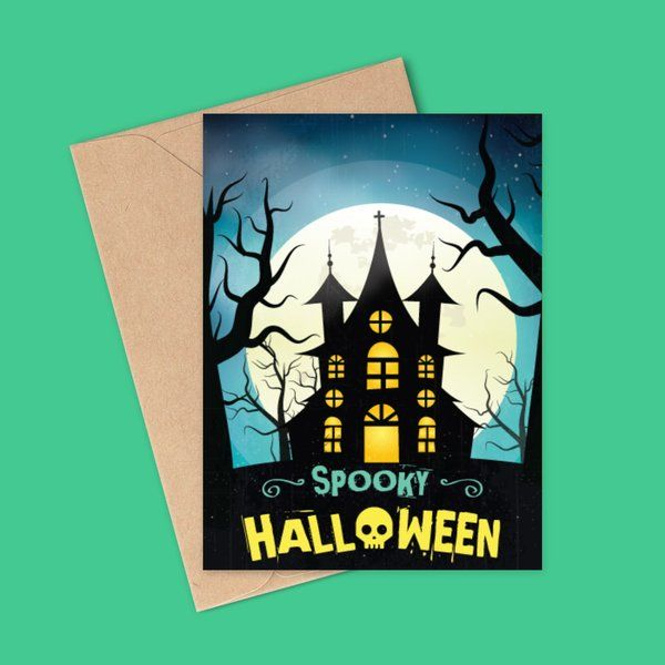 Halloween Haunted House Greeting Card 10 Rupees Products