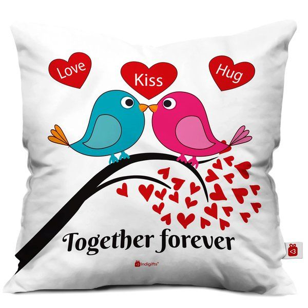 Indigifts Together Forever Quote Printed Cushion with Cover Romantic Valentines Day Gift