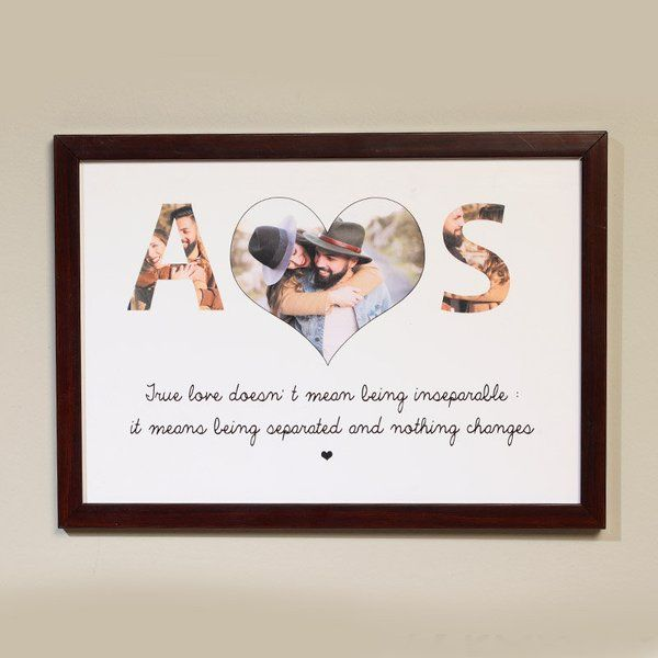 FlowerAura True Love Personalised Wooden Frame 1st Anniversary Gift For Husband