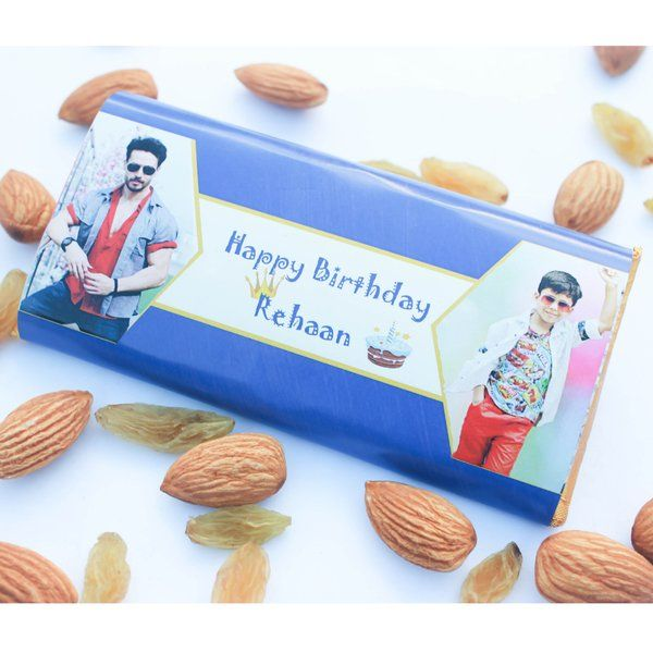 Privy Express Two Photos & Message Personalised Chocolate Bar Small Gifts For Kids