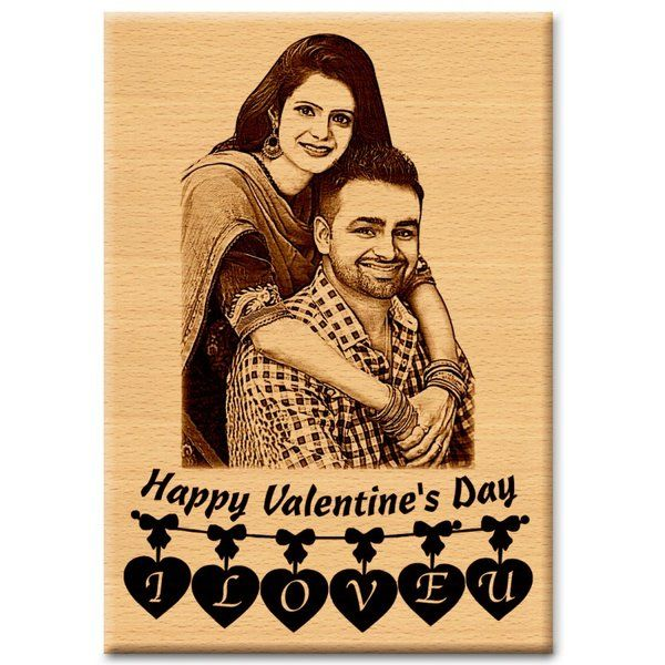 Incredible Gifts Unique Wooden Personalized Happy Valentine's Gift Plaque Valentines Day Photo Frame