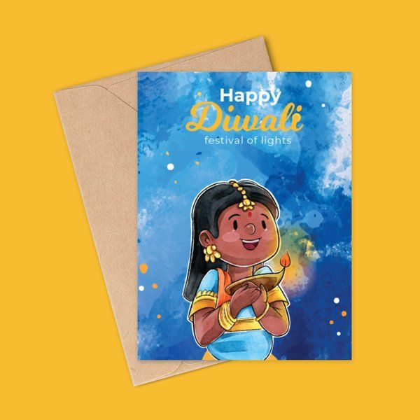 Watercolor Paint Diwali Greeting Card 10 Rupees Products