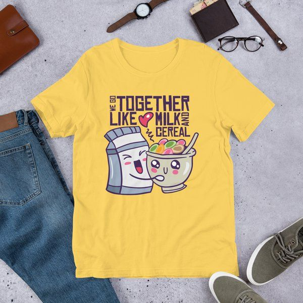 Privy Express We Go Together Like Milk And Cereal Quirky Printed Women's Cotton T-Shirt Surprise Gifts For Girlfriend