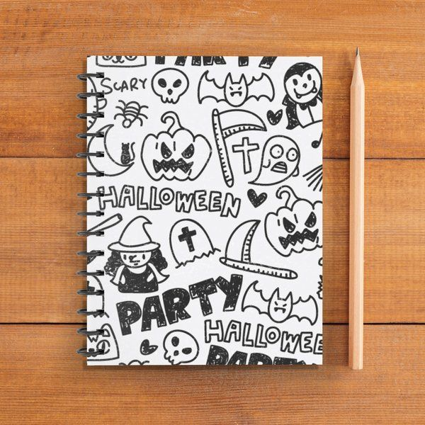 Privy Express White and Black Halloween Characters Doodle Notebook (Notepad) Gifts For Boyfriend Under 300