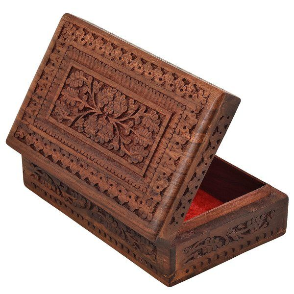 FineCraftIndia Wooden Designer Handcarved Jewellery Box 25th Birthday Gift For Girlfriend