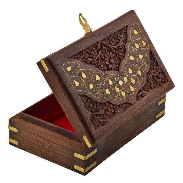 FineCraftIndia Wooden Designer Handcarved Jewellery Storage Organizer Gift Box Gift For Married Sister