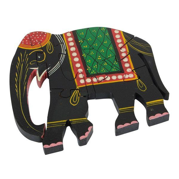 FineCraftIndia Wooden Jigsaw Puzzles Elephant Shaped Useful Gifts For Kids