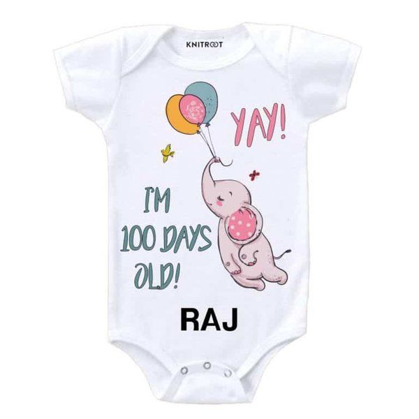 Knitroot Yay.. I Am 100 Days Old Baby Wear Onesie Birthday Gift For 1 Year Old Boy
