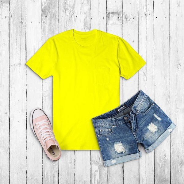 Privy Express Yellow Solid Crew Round Neck Plain Cotton Men's T-shirt Special Gift For Brother