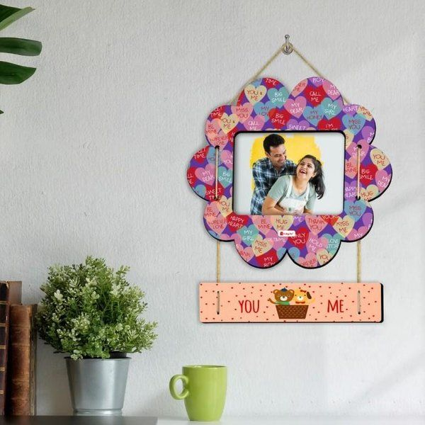 Indigifts You And Me Printed Flower Shape Photo Frame Valentine Week Gift Items For Her  Happy Propose Day Gift